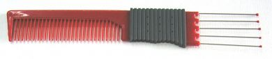 Metal Pin Combo Teasing Comb Red with Rubber Grip (Hair & Beauty Brand)