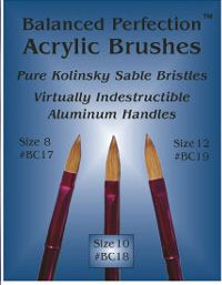 Balanced Perfection Pure Kolinsky Sable Bristle Acrylic Brush Size 10