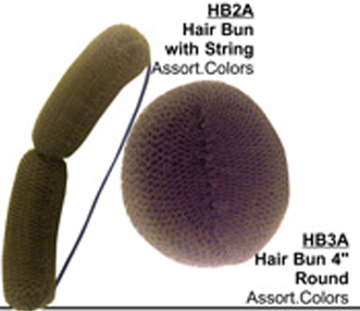 """Hair Buns 4"""" Round in Assorted Colours"""