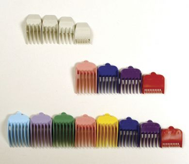 Bag of Wahl Clipper Combs 1-8 plastic Tab Coloured