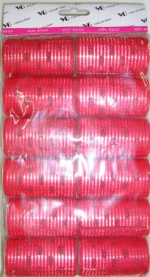 "TM 15/4 "" Very Good"" Velcro Hair Rollers with Aluminium Core (Regular Tape)-Red Colour-33mm Dia-12/pack"