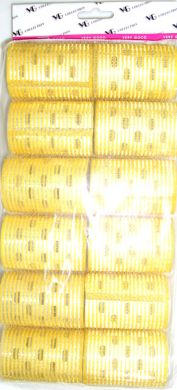 "TM 15/2A "" Very Good"" Velcro Hair Rollers with Aluminium Core (Regular Tape)-Yellow Colour-41mm Dia-12/pack"