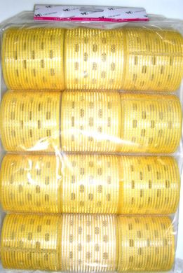 "TM 15/JA "" Very Good"" Velcro Hair Rollers with Aluminium Core (Regular Tape)-Yellow Colour-64mm Dia-12/pack"