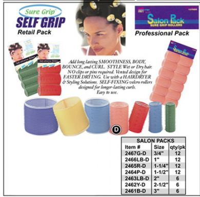 """Sure Grip"" Salon Pack Velcro Hair Rollers 2461B-D-Diam 3"" (Blue)-6/pk"