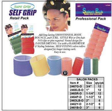 """Sure Grip"" Salon Pack Velcro Hair Rollers 2461B-D-Diam 3"" (Blue)-6/pk"