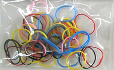 Rubber Bands Small-Multi coloured in a polyheader bag