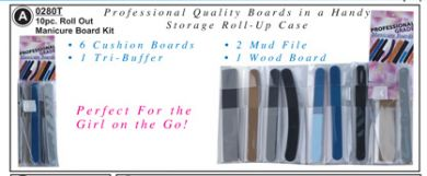 0280T- Professional 10 pc Roll Out Manicure Board Kit