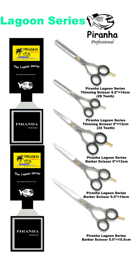 "Piranha Lagoon Series Barber Scissors 5.5""=14cm"