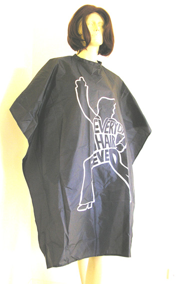 "Impresso "" EVERYDAY HAIR FEVER"" Nylon Woven Hairdressing Cape with Velcro Fastening-Black"