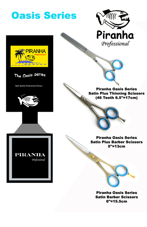Piranha Oasis Series Satin Barber Scissors 6'=15.5cm