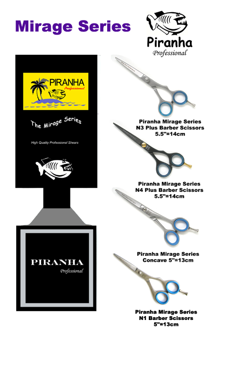 "Piranha Mirage Series N3 Plus Barber Scissors 5.5""=14cm"