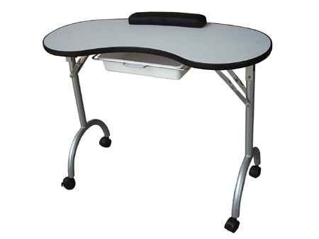 MT-11A-Manicure Table-Kidney Bean Shaped with Armrest and Retractable Drawer