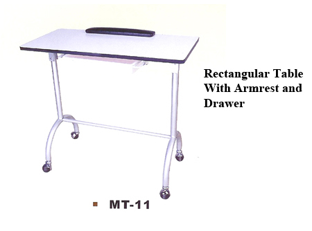 MT-11A-Manicure Table-Rectangular Shaped with Armrest and Retractable Drawer
