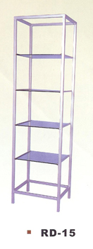 RD-15 Retail Display Stand-Rectangular-Metallic Silver (Metal Frame) with Glass Shleves