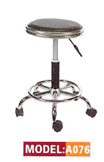 A076-Stool with Chrome Rimmed Seat