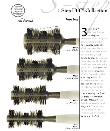 "B851-3-Step Ti-Fi Titanium/Pure Boar Brush-2""-1.5"" (12 Rows and 180 Pins)"