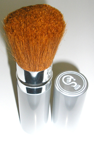Retractable Metal Blush Brush-Orange/Brown Bristles
