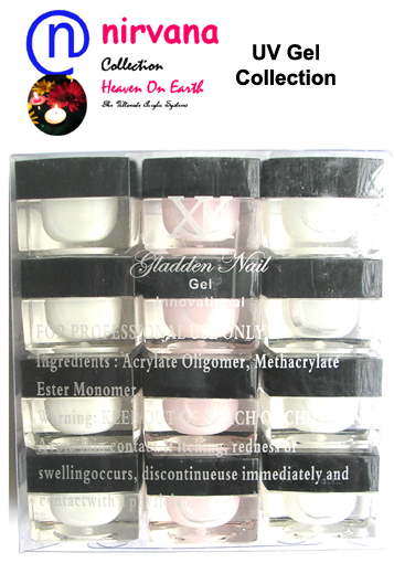 Nirvana Collection-French UV Gel Collection-Box of 12 (8ml) bottles: 4xPink, 4xWhite and 4xClear