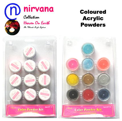 Nirvana Collection-Coloured Acrylic Powder Collection 10x10g-Boxed-Assorted Colours