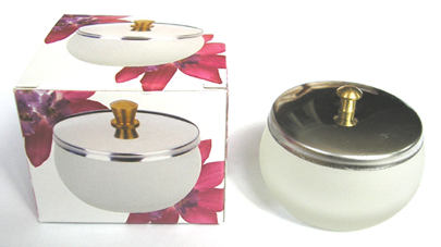 Nirvana Collection-Large Frosted Dappen Dish with Lid in a Box
