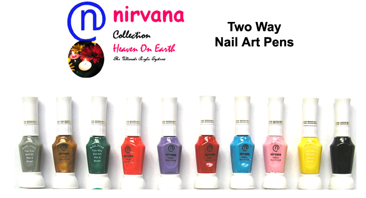Nirvana Collection 2 Way Nail Art Pen and Brush-Orange