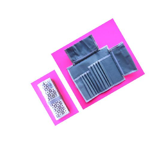 Make Up Case as Shown-Folding/Velcro Strap-Metallic Silver