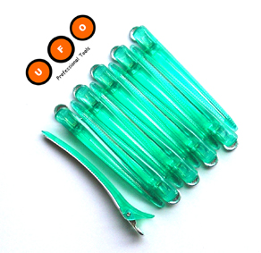 UFO Combo Clips-12cm long- Polymer Top and Aluminium Base-Green Colour-12pcs per pack