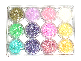 Nirvana Collection-Nail Art Micro Glitter Flakes-12 assorted colours in a clear acrylic box