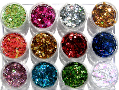 Nirvana Collection-Nail Art Glitter Shapes (Heart) in 12 assorted colours-all in an acrylic box