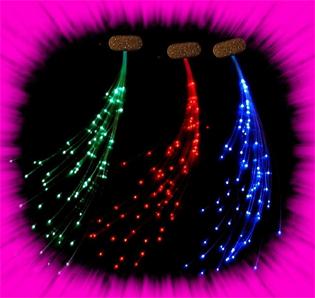 """""""Glowbys Fibre Optic Hair Inserts- 12"""" Un-Cut""""-Colour Blue"""