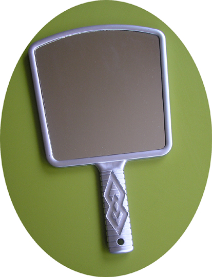 Fan Shaped Large Hand Held Mirror-Silver