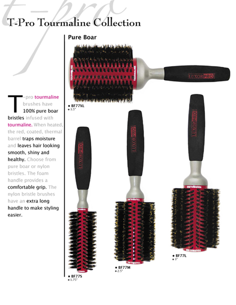 T-Pro Tourmaline Collection with Pure Boar Bristles - 1 brush in each size