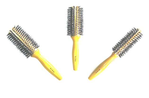 Hair & Beauty Brand Thermal Porcupine Brush Collection-Pure Bristle/Gold Barrel-3 pc Set