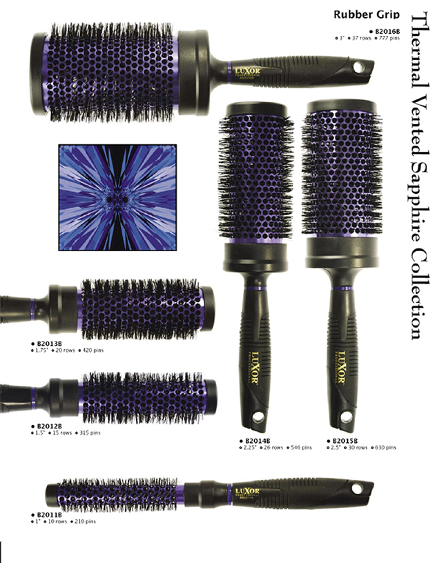 Luxor Supergrip Purple Thermal Brushes Collection-1 pc x each size (5pc collection)