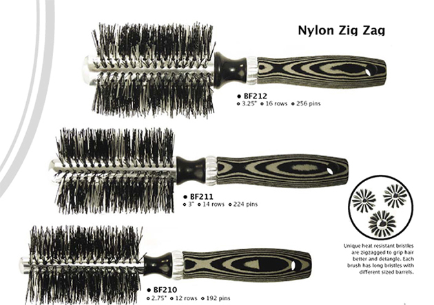 Luxor Zig-Zag Bristle Thermal Brush 3 Pc Collection-1x12 Row, 1x 14 Row and 1x16 Row