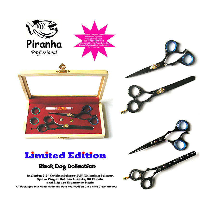 "Piranha Limited Edition Black Dog Collection-5.5"" Cutting Scissor plus 5.5"" Thinning Scissor"