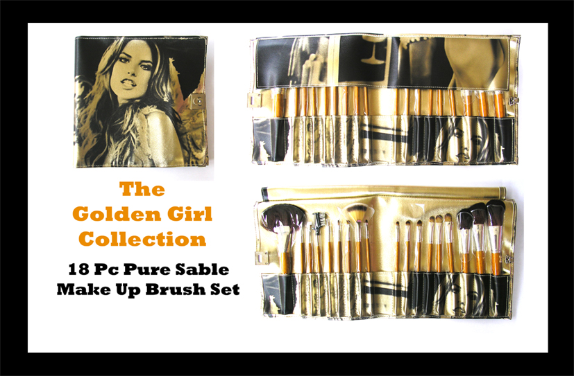 The Golden Girl Professional Make-Up/Cosmetic Brush Collection-Pure Sable 18 piece Set in an Elegant Case