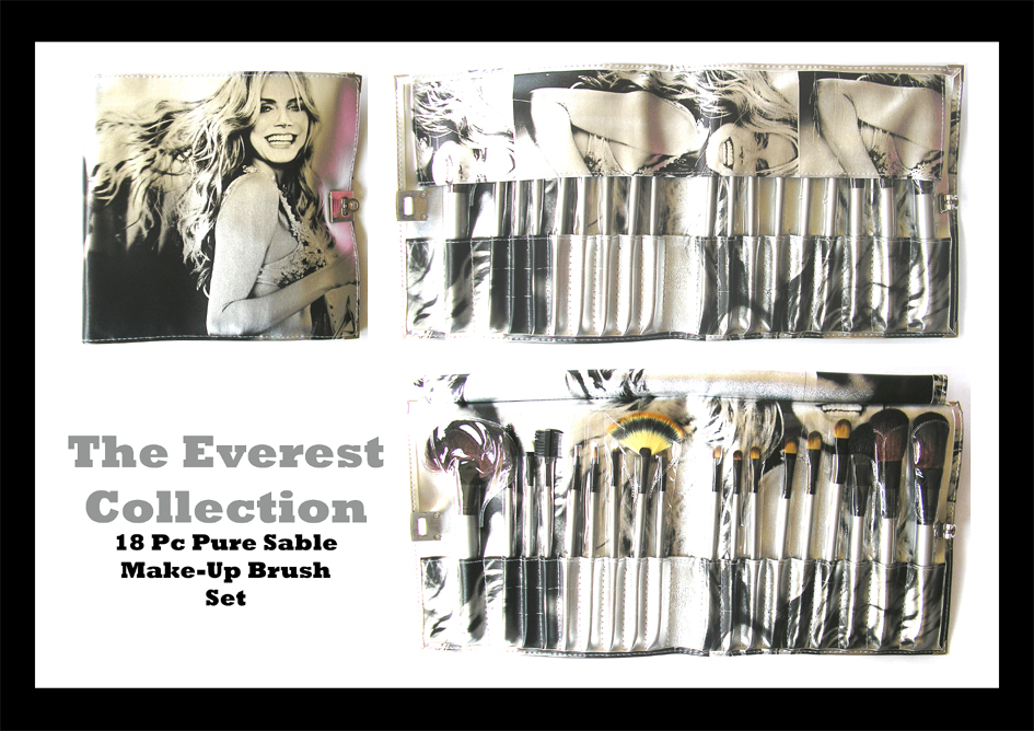 The Everest Professional Make-Up/Cosmetic Brush Collection-Pure Sable 18 piece Set in an Elegant Case