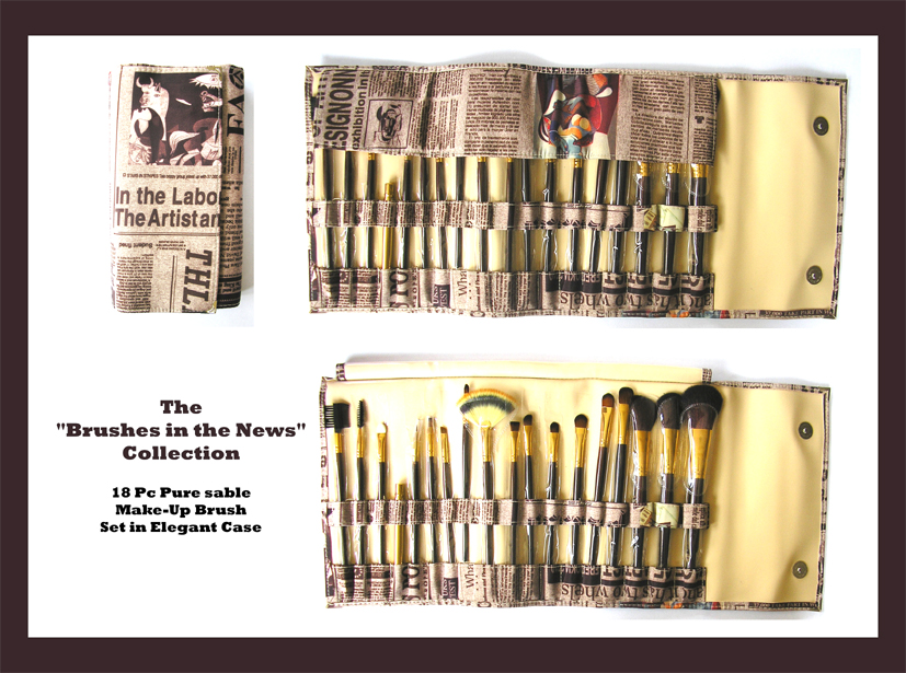 "The ""Brushes in the News"" Professional Make-Up/Cosmetic Brush Collection-Pure Sable 18 piece Set in an Elegant Case"