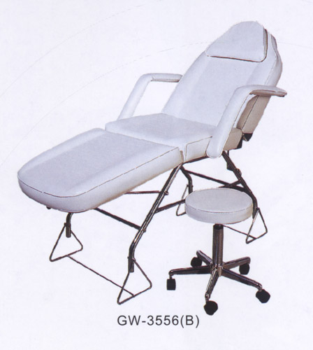 GW-3556(B) Beauty Bed- Adjustable height, Removable Insert Pillow, Removable Arm Rests, Chrome Frame , Beauty Stool IS included.
