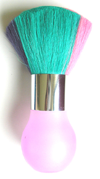 Multi-Coloured Neck Dusting Brush with Round Pink Acrylic Base