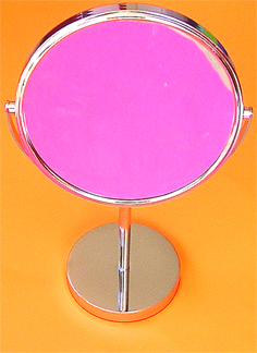 "Magnifying Cosmetic Mirror on Stand-""Flippable""-3X Mag on one side and normal on the other-Chrome Frame"