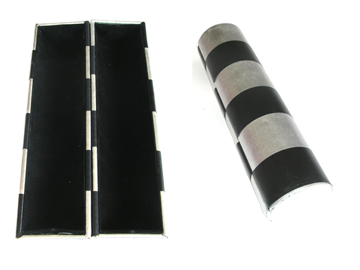 Cylindrical Make-Up Case in Black and Silver with Velvet Interior (Hard Cover)-Opens and Folds through 360 deg