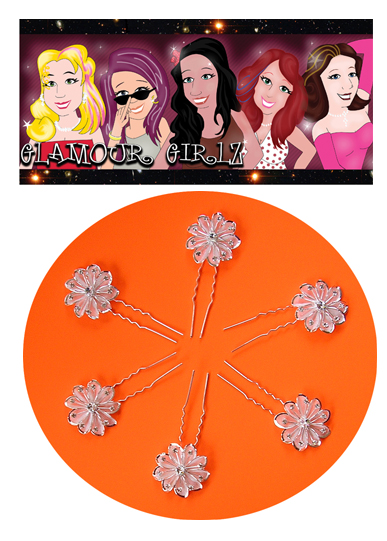 Glamour Girlz Hair Aceessories-UPJ50-Flowered 2 Pronged Hair Pins (6 Pack)