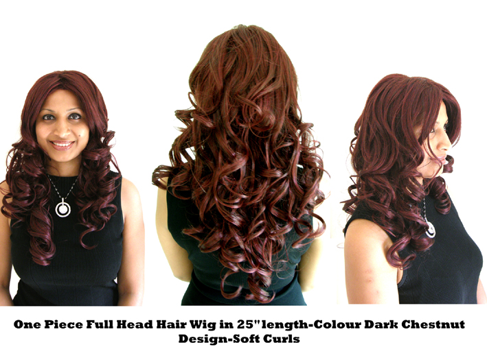 "One Piece Full Head Hair Wig in 25"" Length-Colour Dark Chestnut-Design SOFT CURLS"