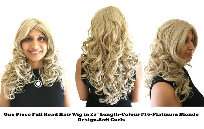 "One Piece Full Head Hair Wig in 25"" Length-Colour #16-Platinum Blonde-Design SOFT CURLS"