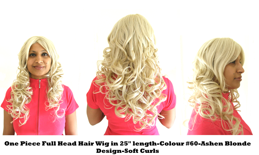 "One Piece Full Head Hair Wig in 25"" Length-Colour #60-Ashen Blonde-Design SOFT CURLS"