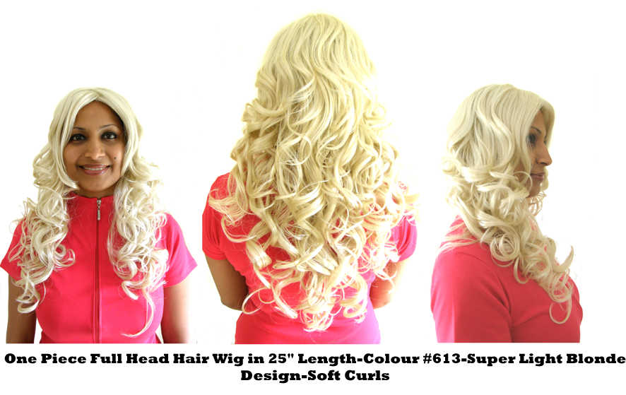 "One Piece Full Head Hair Wig in 25"" Length-Colour #613-Super Light Blonde-Design SOFT CURLS"