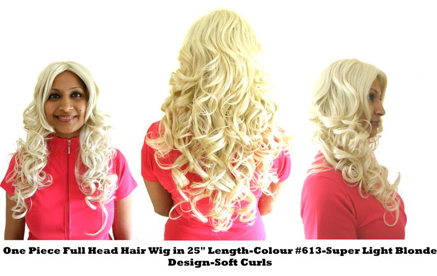 "One Piece Full Head Hair Wig in 25"" Length-Colour #613-Super Light Blonde-Design SOFT CURLS"