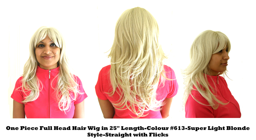 "One Piece Full Head Hair Wig in 25"" Length-Colour #613-Super Light Blonde-Style Straight with Flicks"